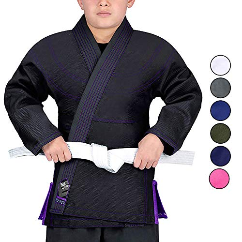 Elite Sports Kids BJJ GI, Youth Jiu Jitsu IBJJF Children's Brazilian Jiujitsu Kimono W/Preshrunk Fabric & Free Belt (Black, C2)