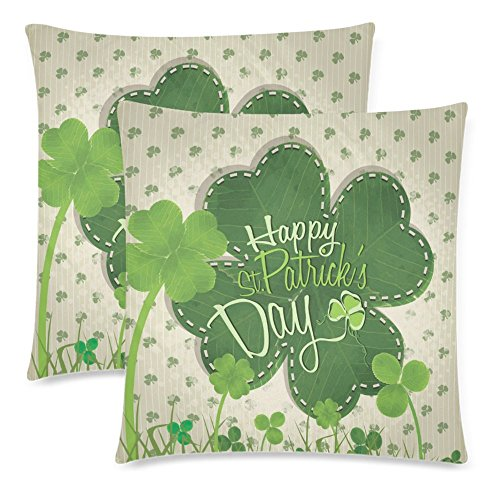InterestPrint Irish Shamrock Lucky Clover Pillow Case Cover 18x18 Twin Sides for Couch Bed, Happy St. Patrick's Day Zippered Throw Pillowcase Shams Decorative, Set of 2