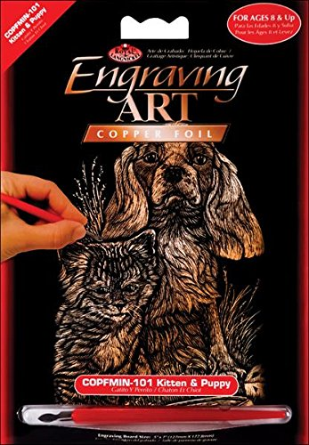 Royal Brush Mini Copper Foil Engraving Art Kit, 5 by 7-Inch, Kitten and Puppy