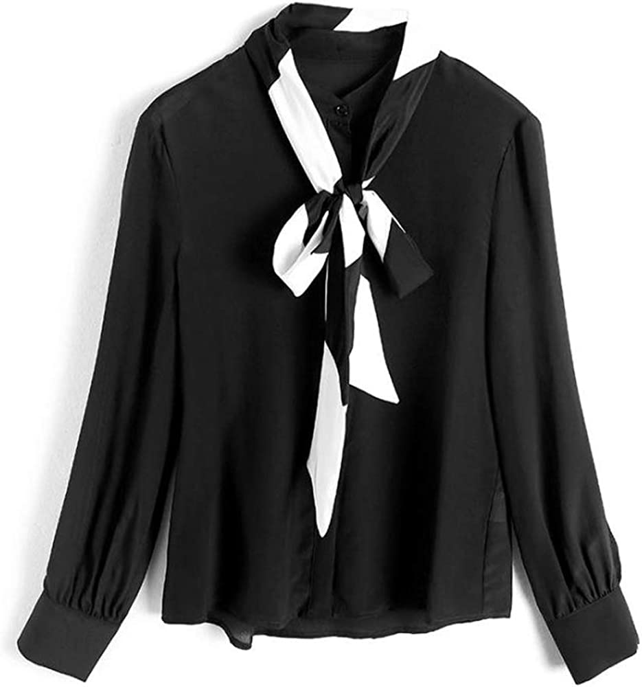 Moda Femenina Tops Gasa Negro y Blanco Lazo Pajarita Blusa Camisa Cardigan Blusa Manga Larga botón Abajo Camisa, Black, S: Amazon.es: Ropa y accesorios