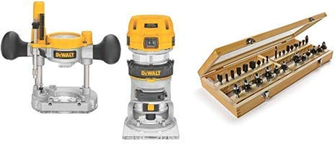 DEWALT DWP611PK 1.25 HP Max Torque Variable Speed Compact Router Combo Kit with LED's with 1901049 Marples Master Router Bit Set (30 Piece)
