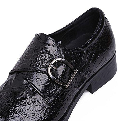 Jsix Zapato De Piel Con Hebillas Hombre De Cocodrilo Patrón Negro - negro