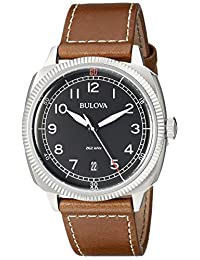 Bulova Men's Marine Star 96B230 Silver Leather Quartz Watch