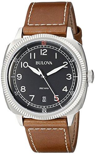 Bulova Men's 96B230 Military Analog Display Japanese Quartz Brown Watch Accutron White Wrist Watch