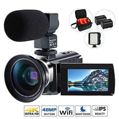 4K Camcorder Video Kamera, Cofunkool Vlogging Camera 48MP Ultra HD WiFi IPS Touchscreen IR-Nachtsicht 16X Digital Zoom…
