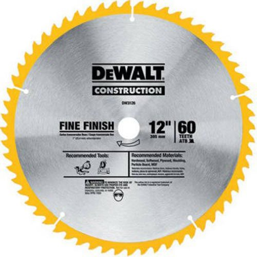 DEWALT DW3126 Series 20 12-Inch 60 Tooth ATB Thin Kerf Crosscutting Miter Saw Blade with 1-Inch Arbor