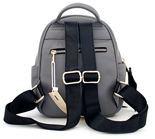 Tom & Eva Rhea 1188 Tasche Rucksack Backpack Grau Medium, große Gold Zipper aus Vegan Leder für Damen