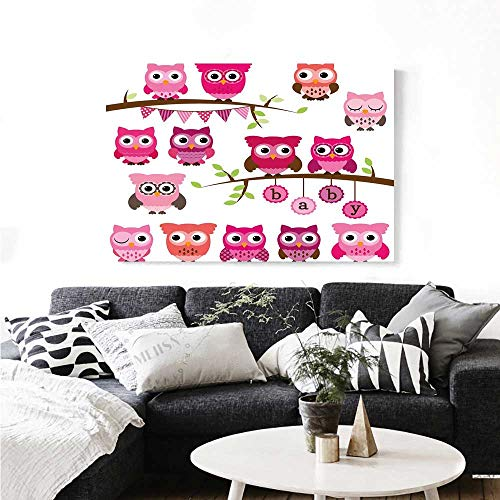 (Nursery Canvas Print Wall Art Girl Baby Shower Themed Owls and Branches Adorable Cartoon Animal Characters Art Stickers 28