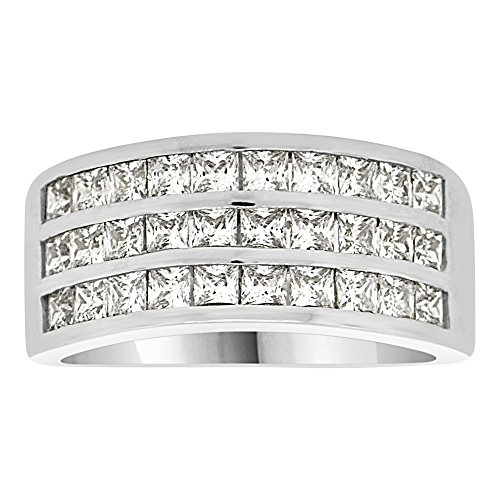 14k White Gold 3 Row (14k White Gold, 3 Row Channel Set Band Ring Lab Created CZ Crystals)