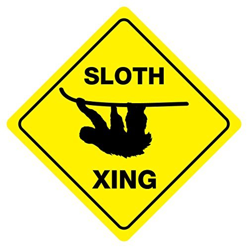 PeteGray Sloth Crossing Animal Crossing Sign Yellow novit/à aluminum Signs metal Signs Funny metal Tin Sign Plauqe Natale regali di compleanno