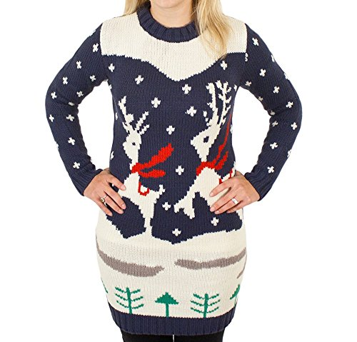 Prancing Reindeer Holiday Sweater Dress
