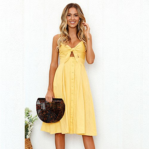 Womens Dresses Summer Sexy Front V-Neck Bow-Knot Sling Strap Button Down A-Line Backless Swing Midi Dress