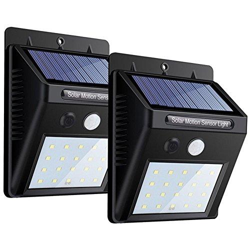 20 LED Lumière Lampe Solaire avec Détecteur Modes Intelligents ...