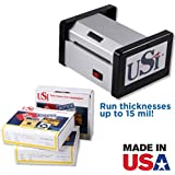 USI HD 400 Heavy Duty Pouch Laminator Kit, Up to 4 Inches Wide and 15 Mil Thick, Includes 1 Box Each of 5 Mil Business Card, 7 Mil Vertical Luggage Tag, and 5 Mil Military Size ID Pouches
