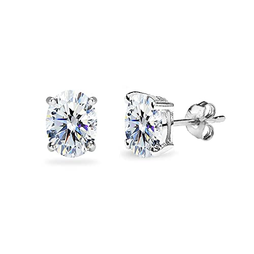 576c2a923 Amazon.com: Sterling Silver 7x5mm Oval Solitaire Stud Earrings Made with  Swarovski Zirconia: Jewelry
