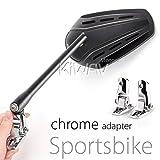 KiWAV Magazi Zipper motorcycle fairing mirrors aluminum black for Sportbike w/ chrome adapter