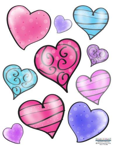 Create-A-Mural Flirty Hearts Wall Sticker Girls Peel and Stick Wall Decals