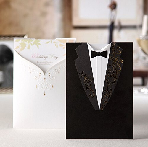 Wishmade CW2011 White and Black Bride Groom Wedding Invitations Cards Laser Cut Hollow Floral Greeting cards for Engagement Birthday Bridal Shower 50Sets