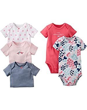 Baby Girls' 5 Pack Bodysuits