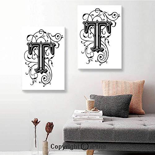 SfeatruRWF 2-Piece Gallery,Symmetrical Uppercase Letter in Renaissance Art Style Ornamental Monochrome Decorative,24