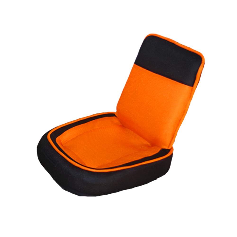 Y&S Portable Folding Chair Japanese-Style Lazy Child Small Sofa Tatami Sofa Stool Bay Window Chair-Orange 43x48cm(17x19inch)