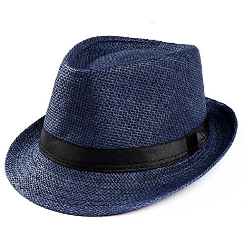 Fedora Classic Straw (ShenPourtor Women/Men's Summer Cool Short Brim Straw Fedora Sun Hat WIth Stylish Hat Band (Navy Blue))