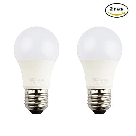 b2ocled 2 pack e26 led bulb 5w 30 watt equivalent warm white 2700k