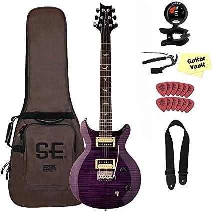PRS SE Carlos Santana firma guitarra eléctrica Bundle con se funda de, morado