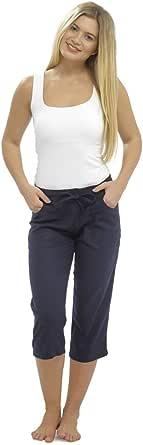 CityComfort Pantalones Mujer De Lino, Bermudas para Verano con Cintura Elástica Y Suaves, Pantalones Largos Cortos y De 3/4, Regalos para Mujeres 38-52a Mujer con Cintura Elástica