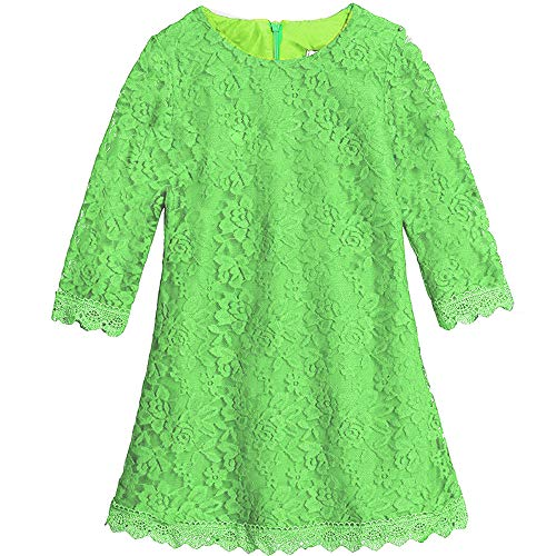 Lace Flower Girl Dress Elegant Bridesmaid Dress Wedding Party Fall Holiday Pageant Girl Dress Formal Ball Gowns Long Sleeve Knee Length Christmas Easter Flower (Green 190)