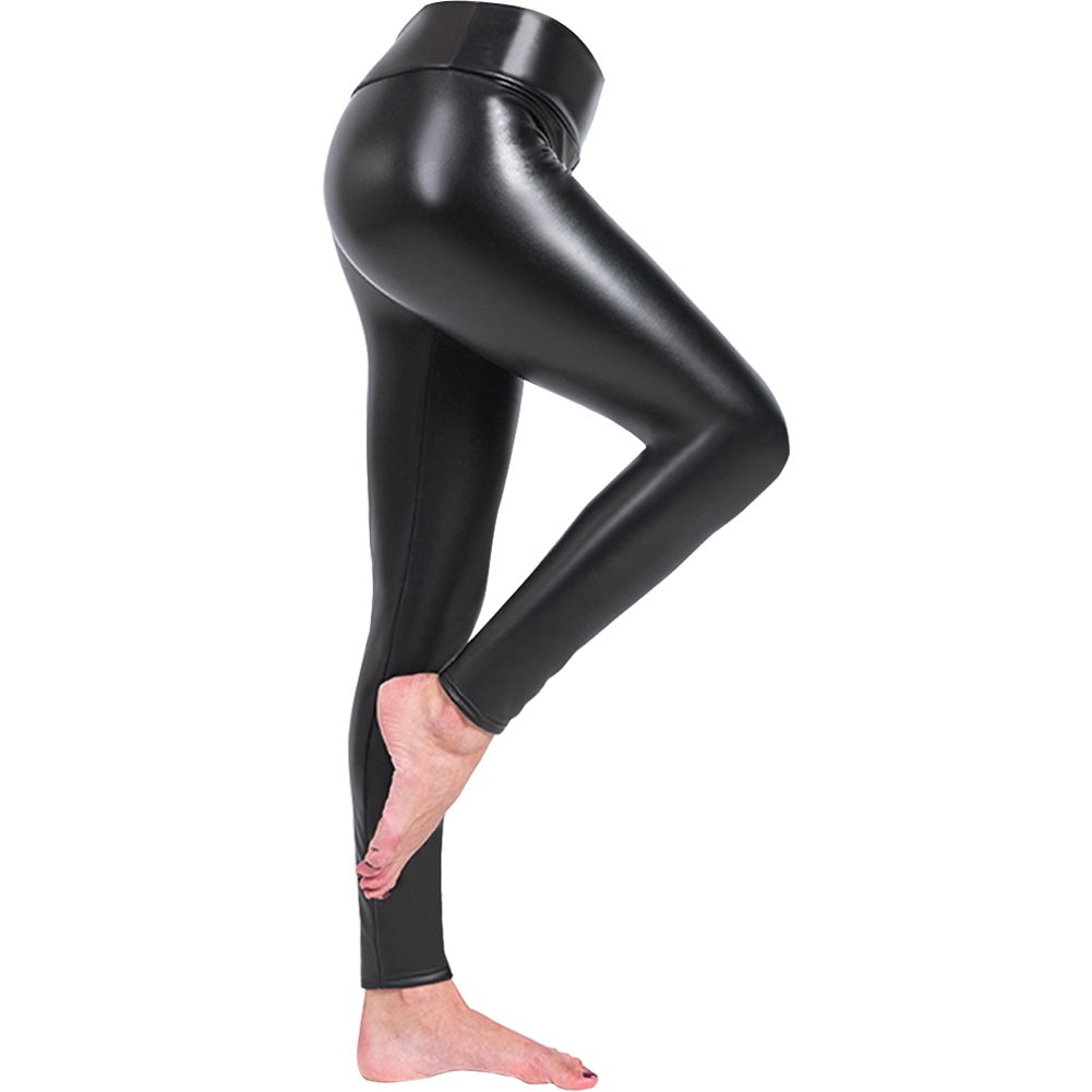 Zuozee Faux Leather Leggings,High Waist Stretch Pants,Elastic Tights Dark Leggings,Misses Leggings Velvet Warm