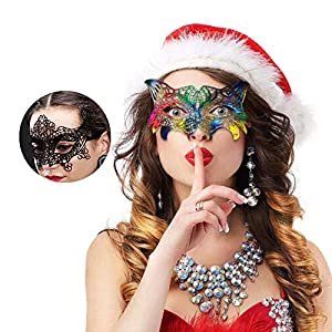 AIYUE Womens Lace Mask Black Costume Eye Masks for Women Sexy Masquerade Couple Party Mask, Pack of 2