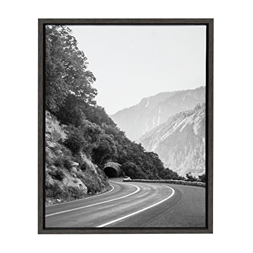 (Kate and Laurel Sylvie Yosemite Tunnel California's Sierra Nevada Mountains Black and White Photograph, Framed Canvas Wall Art by F2 Images, 18 x 24 Dark Gray)