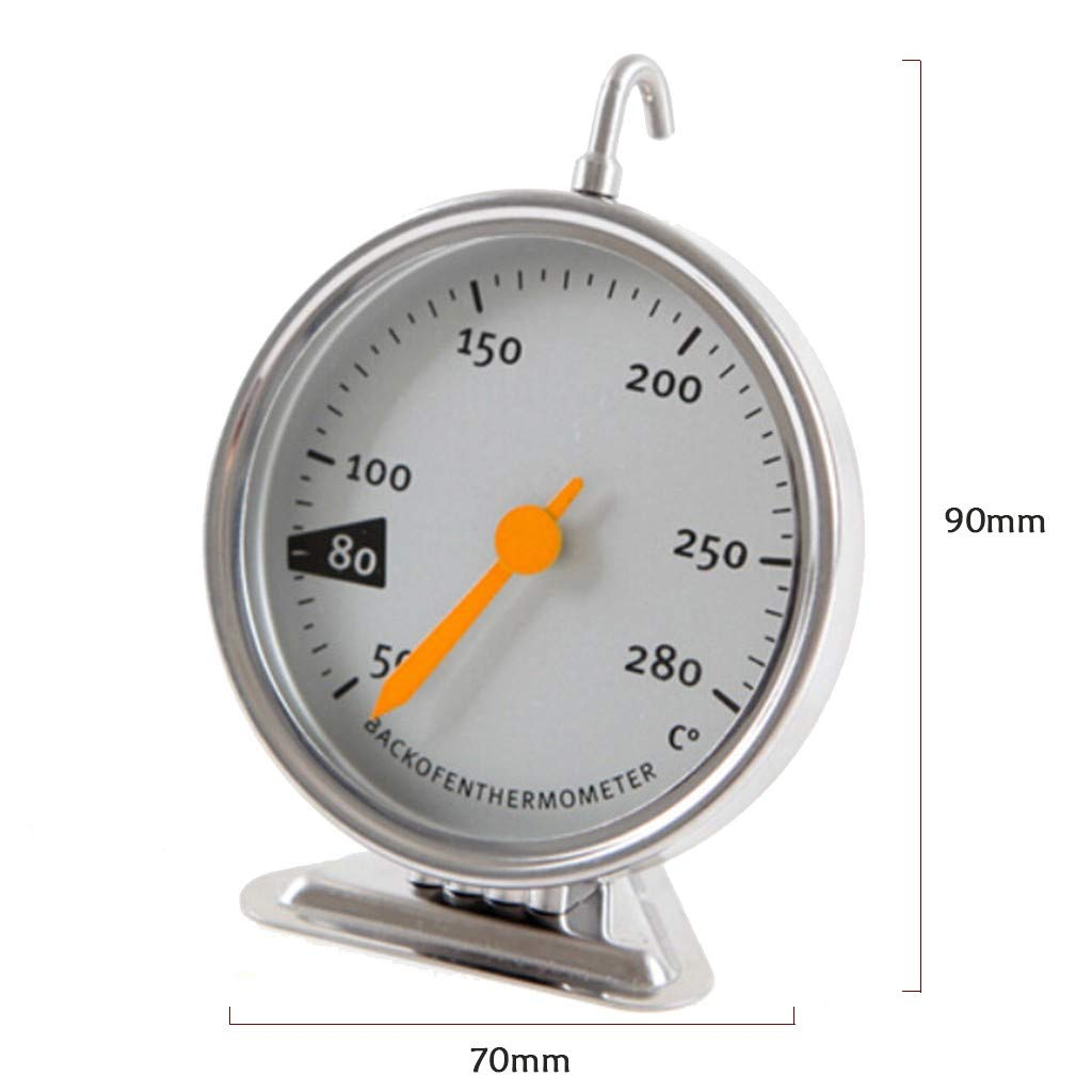 Quaanti Oven Thermometer Stainless Steel Oven Thermomter Large Dial Oven Thermometer with Hook and Panel Base Oven Monitoring 50 to 280 Degrees C Temperature Range for Home Kitchen Food Meat (Silver)
