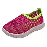 QueenBB Kids Shoes Boys Girls Breathable Mesh Shoes Sneakers Quick Dry Water Shoes Lightweight Slip-On for Running Walking Hot Pink