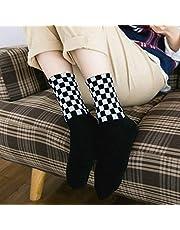 QYY Comfortabtableto dragen Harajuku Dambord Hiphop Sokken Lange Katoenen Sok, Grootte: Een Grootte (Zwart)