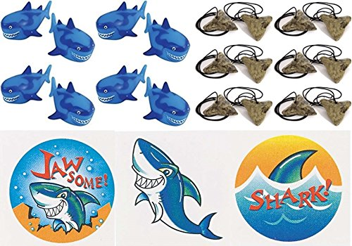happy deals Shark Party Favor Set- 12 Shark Squirts, 12 Shark Tooth Necklaces and 36 Tattoos