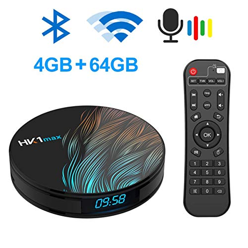 WXJHA Android 9.0 TV Box 4GB RAM 64GB ROM Bluetooth 4.1 And Google Air Mouse with Streaming Media Players3d 4K HD…