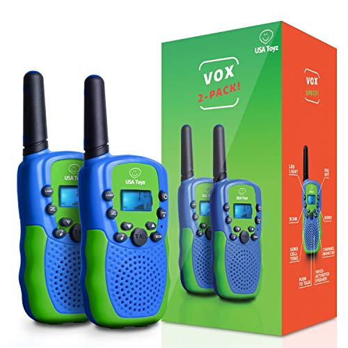 Activated Toy - USA Toyz Walkie Talkies for Kids Vox Box Kids Walkie Talkies for Boys or Girls, Voice Activated Long Range Outdoor Toys Walkie Talkie Set (Blue/Green)