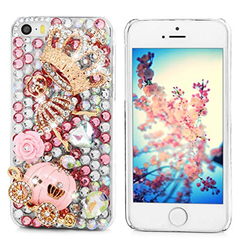 Mavis's Diary Luxury Series for iPhone 5C Handmade 3D Crytal Diamonds Cinderella Fairy Tale Design Clear Hard Back Cover with Clean Cloth - Pumpkin Carriage (Iphone 5c Cases That Have Quotes)