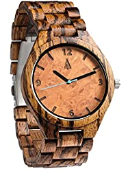 Treehut Mens Zebrawood Maple Burl Dial Wooden Watch with All Zebrawood Wood ...