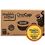 The Organic Coffee Co. OneCup Breakfast Blend (80 Count) Single Serve Coffee Compatible with Keurig K-cup Brewers USDA Organic