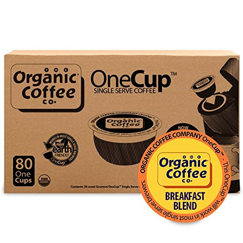 The Organic Coffee Co. OneCup, Breakfast Blend, (80 Count) Single Serve Coffee, Compatible with Keurig K-cup Brewers, USDA Organic