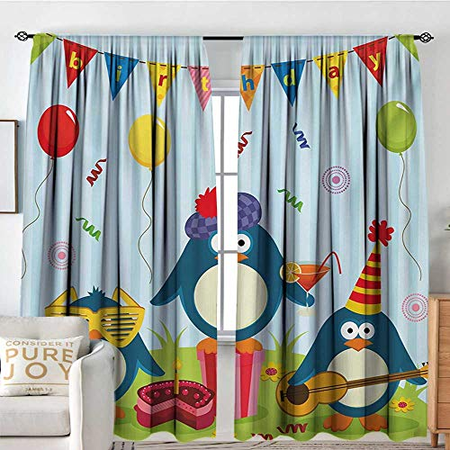 - NUOMANAN Curtains for Bedroom Kids Birthday,Cartoon Style Penguin Party with Flags Cakes and Surprise Box,Pale Blue and Fern Green,Insulating Room Darkening Blackout Drapes 72