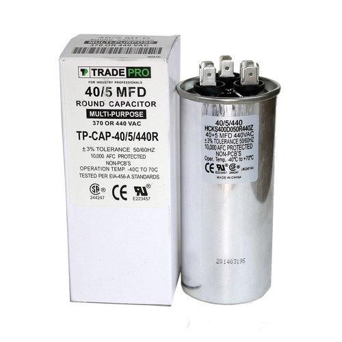 40/5 MFD Multi-Purpose 440 or 370 Volt Round Run Capacitor Replacement TradePro 40+5 Air Conditioner Motor