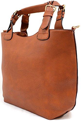Damenschultertasche/-handtasche aus Kunstleder mit abnehmbarer kleiner Tasche Braun