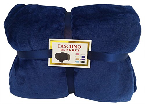 FASCIINO Super Soft Plush Velour Mink Borrego Blanket Throw Queen or Full Size Bed (Navy Blue) Blue Velour Blanket