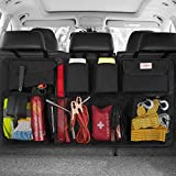 SURDOCA Car Trunk Organizer, 3rd Gen [7 Times Upgrade] Super Capacity Car Hanging Organizer, Equipped with 4 Magic Stick, Car Trunk Tidy Storage Bag with Lids, Space Saving Expert, Black