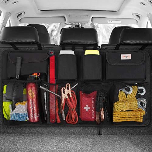 SURDOCA Car Trunk Organizer, 3rd Gen [7 Times Upgrade] Super Capacity Car Hanging Organizer, Equipped with 4 Magic Stick, Car Trunk Tidy Storage Bag with Lids, Space Saving Expert, Black (Trunk Organizer Large)