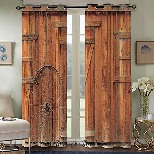 Wagon Knob Wheel (Custom Blackout Curtains,Fashion Curtains for Bedroom Living Room,Ancient West Rural Town Rustic Weathered Wooden Wall Door Wagon Wheel in Front Image,Set of 2 Panels(42